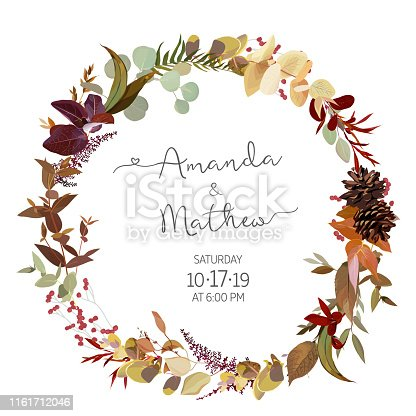 Fall herbs selection vector design round invitation frame. Rustic boho wedding wreath.  Watercolor save the date card. Orange red, taupe, burgundy, brown, cream, gold, rust, beige, sepia autumn colors