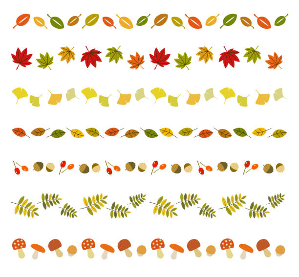 Fall icon line set Fall icon line set autumn leaf color stock illustrations