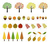 Fall icon set (eg autumn leaves)