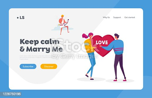 istock Fall in Love Landing Page Template. Man Ask Woman to Marry. Young Characters Share Huge Red Heart Pierced. Cheerful Cupid Sitting on Cloud in Sky with Bow Aiming to People. Cartoon Vector Illustration 1226750195