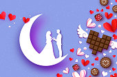 Fall in Love. Moon. Crescent. White Romantic lovers. Pink White Paper Hearts. paper cut style.Happy Valentine day. Romantic Holidays. 14 February.Honeymoon. Love Chocolate, and dessert, candy Vector