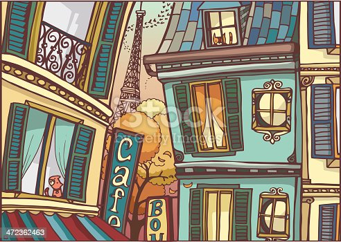 An enchantable view of Paris in autumn. Sketch and colors are on different layers.
