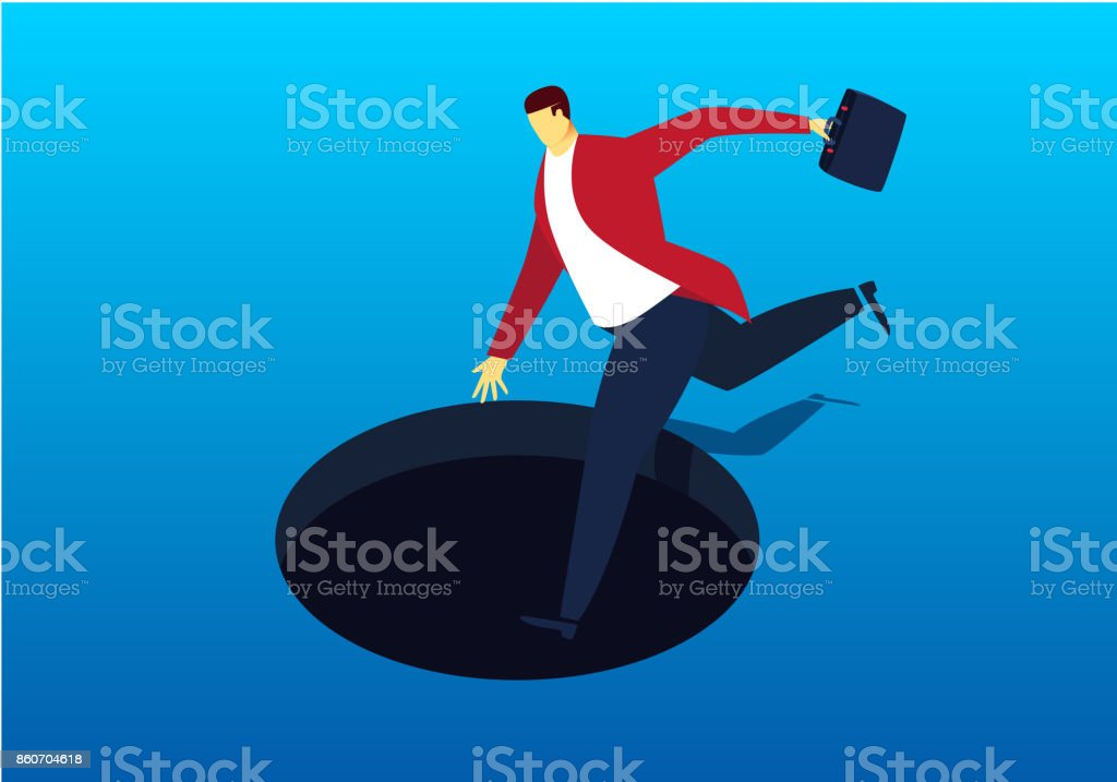 Fall into the trap of businessman vector art illustration