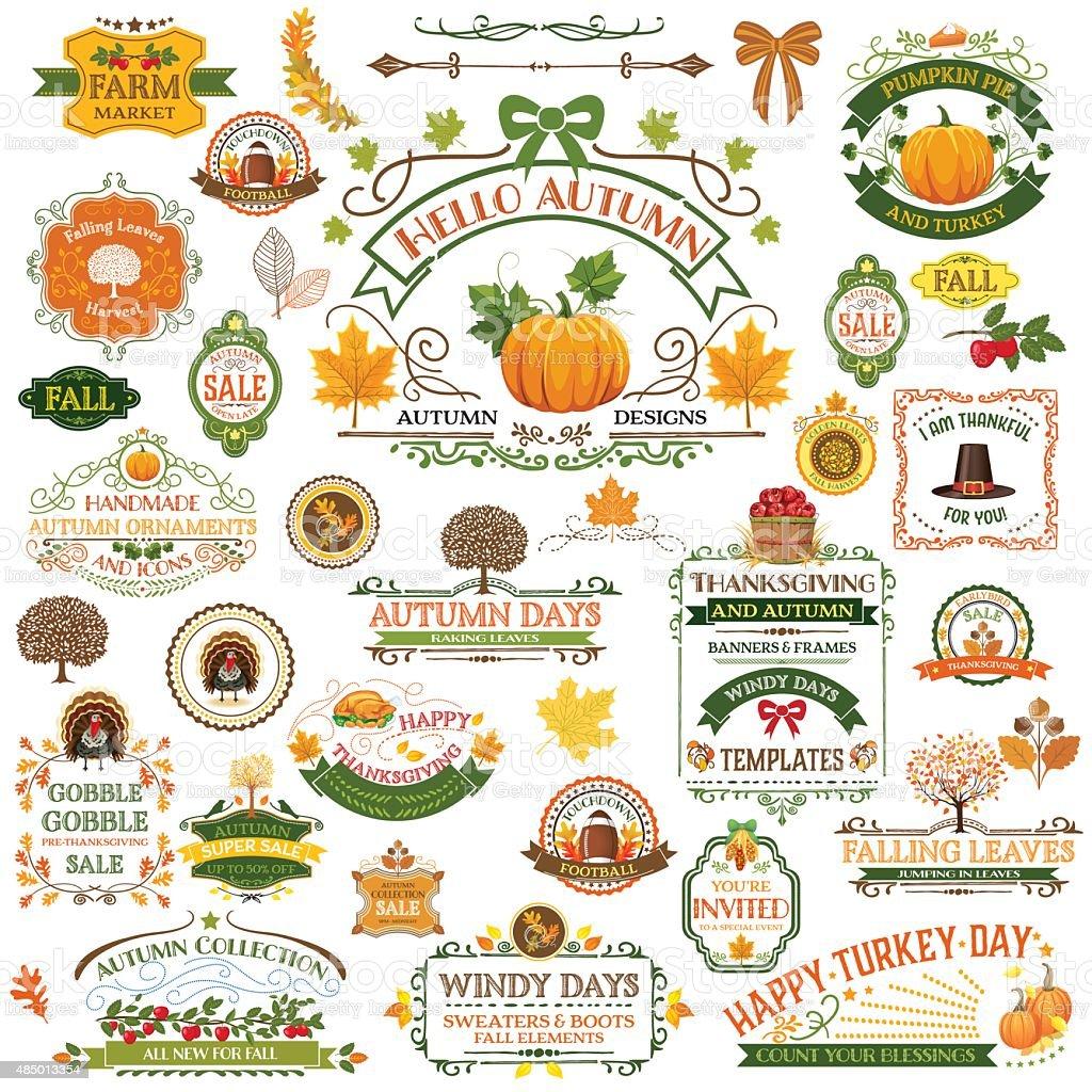 Fall Labels And Ornaments - Decorative elemnts