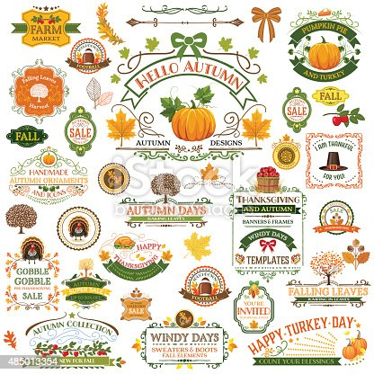 istock Fall Labels And Ornaments - Decorative elemnts 485013354