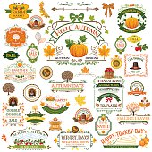 Fall Labels And Ornaments. A large collection of autumn decorations. Fall ornaments include banners, frames, pumpkins, and holiday elements. More than 30 elements.