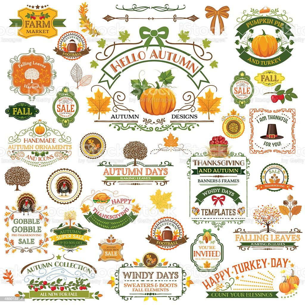 Fall Labels And Ornaments - Decorative elemnts vector art illustration
