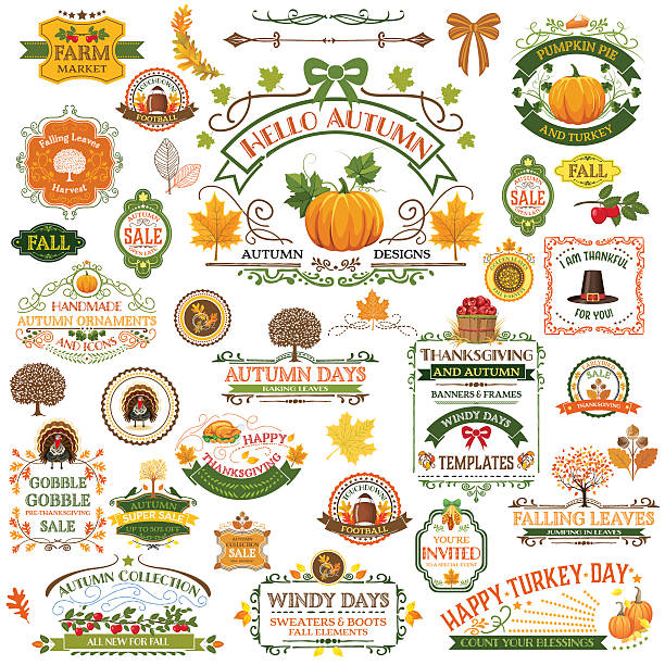 Fall Labels And Ornaments - Decorative elemnts Fall Labels And Ornaments. A large collection of autumn decorations. Fall ornaments include banners, frames, pumpkins, and holiday elements. More than 30 elements.  harvesting stock illustrations