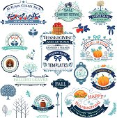 Fall Labels And Ornaments  In Blue