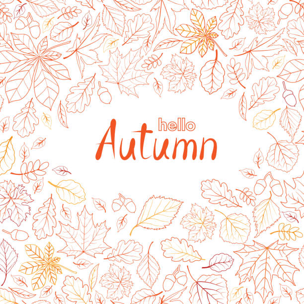 Fall leaf nature pattern with lettering hello Autumn. Autumn leaves background. Season floral icon wallpaper vector art illustration