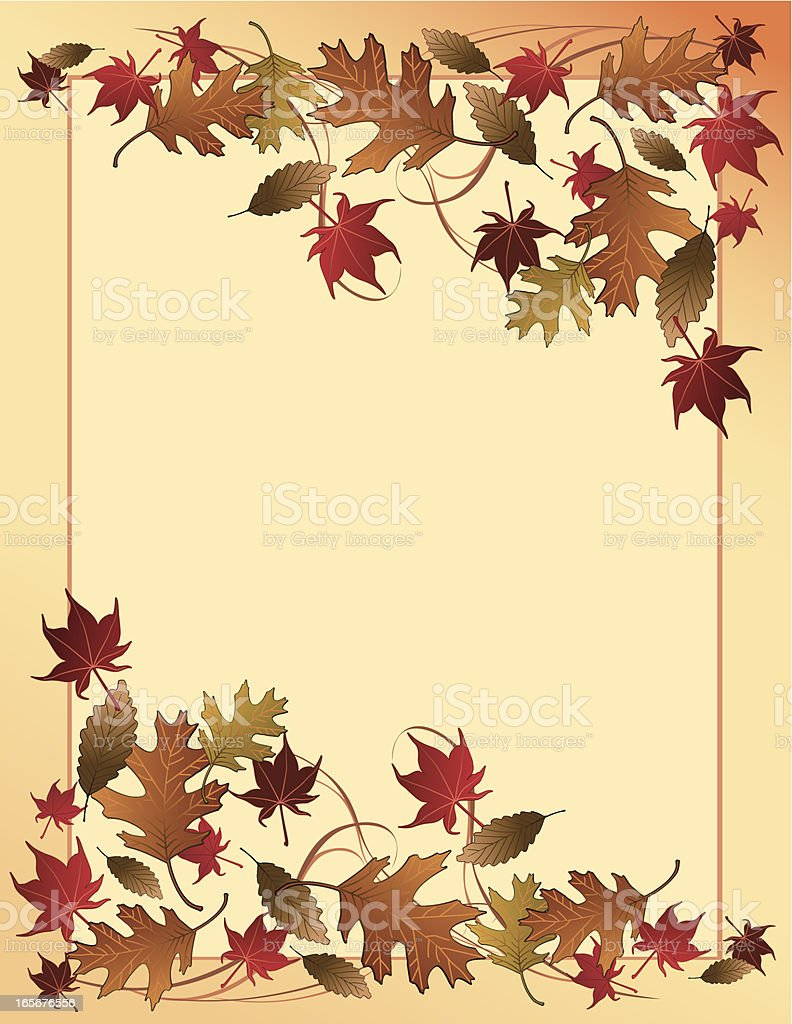 Fall leaves background Vector background with Autumn leaves falling.  Maple and Oak Fall leaves. Autumn stock vector