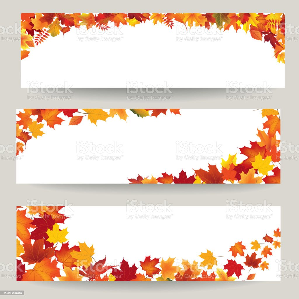 fall leaves banner set swirl autumn leaf background nature