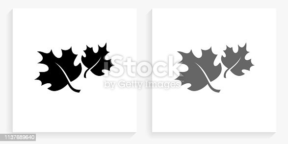 istock Fall Leaves Black and White Square Icon 1137689640