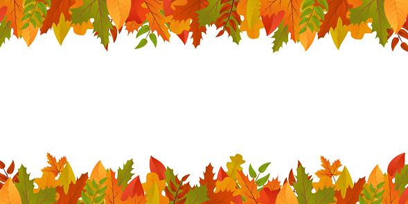 Fall leaves border autumn background. Leaf frame banner for thanksgiving, school. October floral backdrop. Foliage design postcard. Vector harvest decoration.