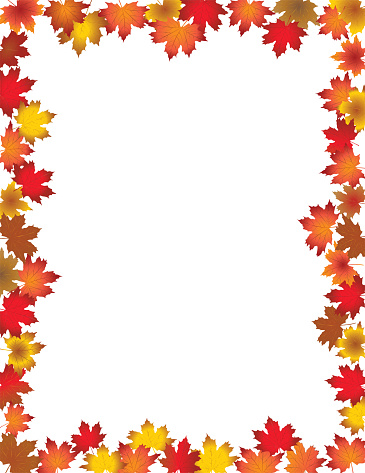 Fall Leaves Border Isolated On White Background Stock Illustration Download Image Now Istock