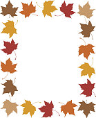 Vector illustration of a frame made up of fall leaves.