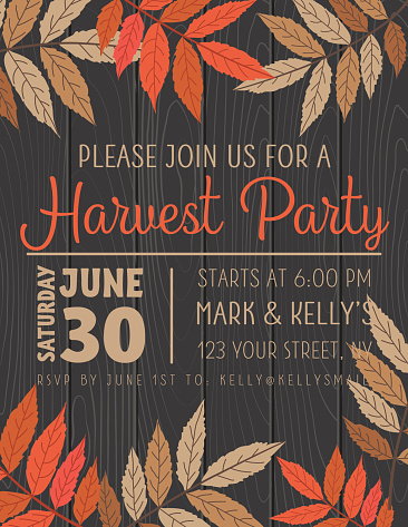 Fall Leaves Harvest Party Invitation Template
