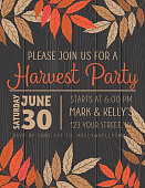 Harvest Party Invitation template On A wooden background with autumn leaves. Simple flat colors.