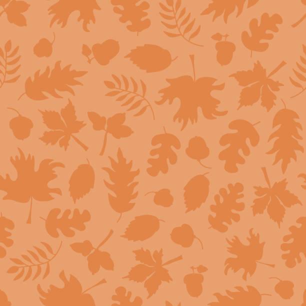 Fall leaves seamless vector pattern subtle Orange vector art illustration