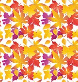 Autumn leaves background. Maple leaf seamless pattern. Fall leafs vector illustration, drawing. Thanksgiving Holiday wallpaper. October