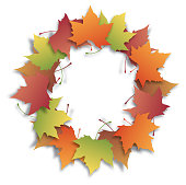 Vector illustration of fall maple leaves.