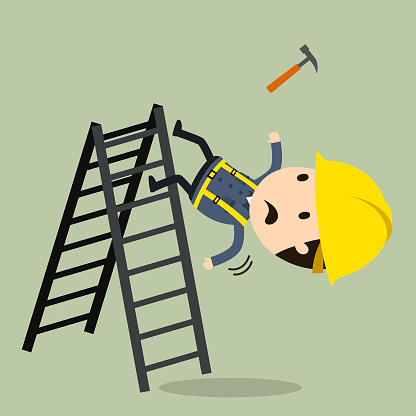 Fall Off A Ladder Stock Illustration - Download Image Now ...