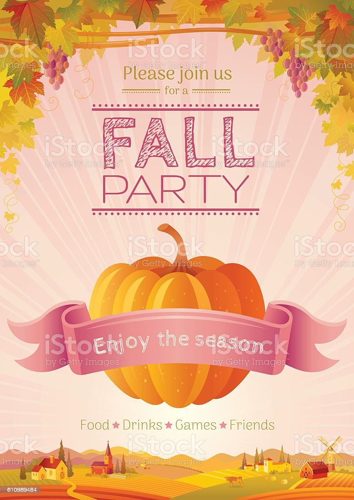 Fall Party Invitation Design Harvest Festival Poster Thanksgiving ...