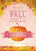 Fall party invitation design. Harvest festival poster. Thanksgiving day - american traditional family holiday. Autumn pumpkin patch, landscape background, villa house, agriculture vector illustration.