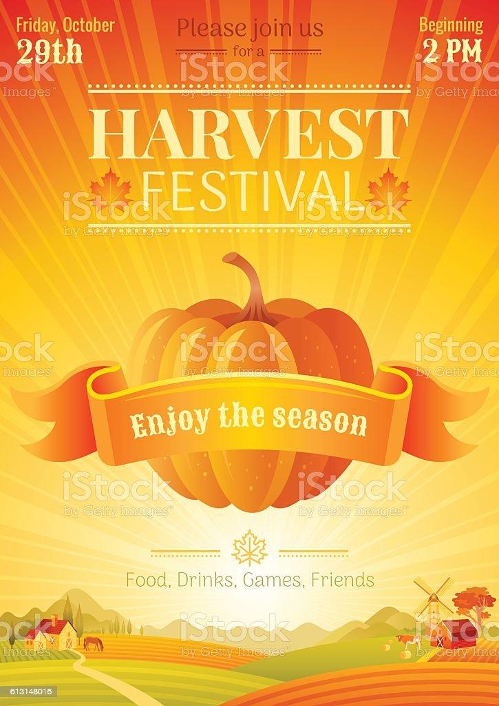 Fall party invitation design. Harvest festival poster. Thanksgiving vector illustration. vector art illustration