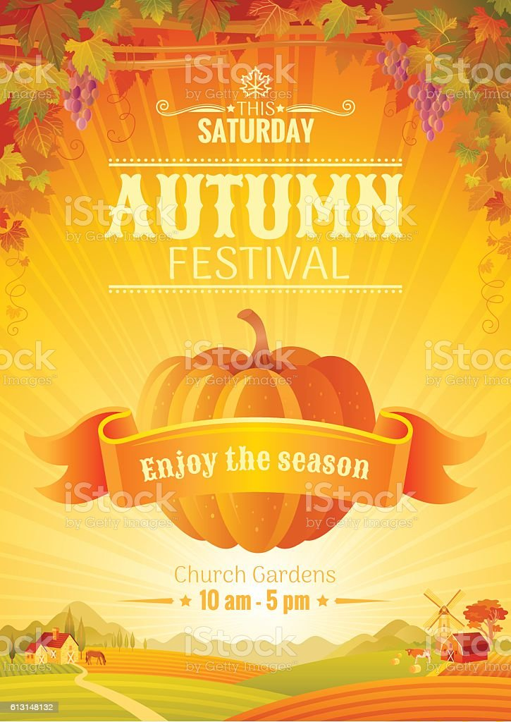 Fall party invitation design. Harvest festival poster. Thanksgiving vector illustration. vector art illustration