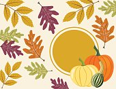 Fall Pumpkin Background with Autumn Leaves, Copy Space with Label