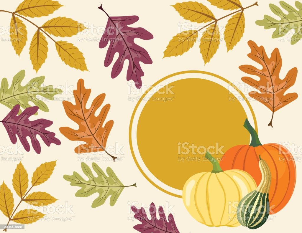 Fall Pumpkin Background with Autumn Leaves, Copy Space with Label vector art illustration