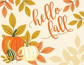Fall Pumpkin Background with Autumn Leaves, hello fall Text