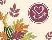 Fall Pumpkin Background with Autumn Leaves, I Heart Autumn Label