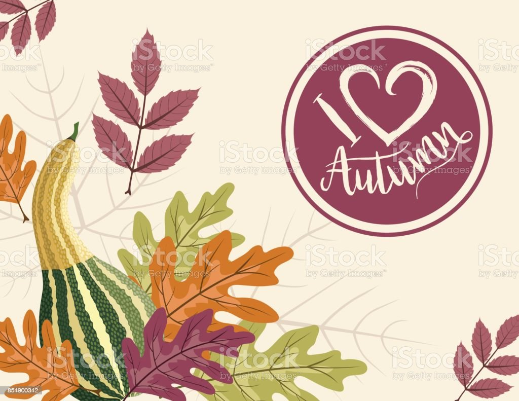 Fall Pumpkin Background with Autumn Leaves, I Heart Autumn Label vector art illustration