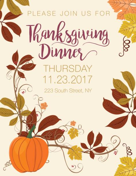 Fall Pumpkin Background With Autumn Leaves Thanksgiving Dinner Invitation Vector Art Illustration