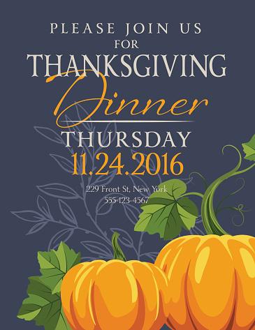 Fall Pumpkins Thanksgiving Dinner Invitation Template