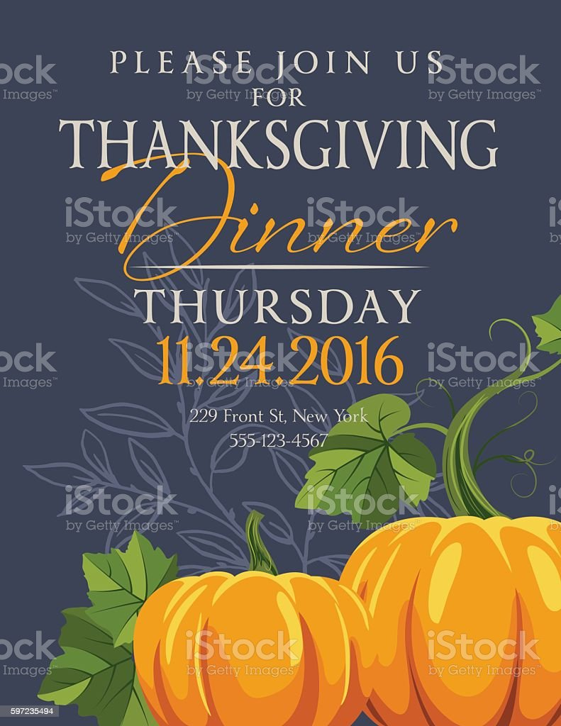 Fall Pumpkins Thanksgiving Dinner Invitation Template vector art illustration