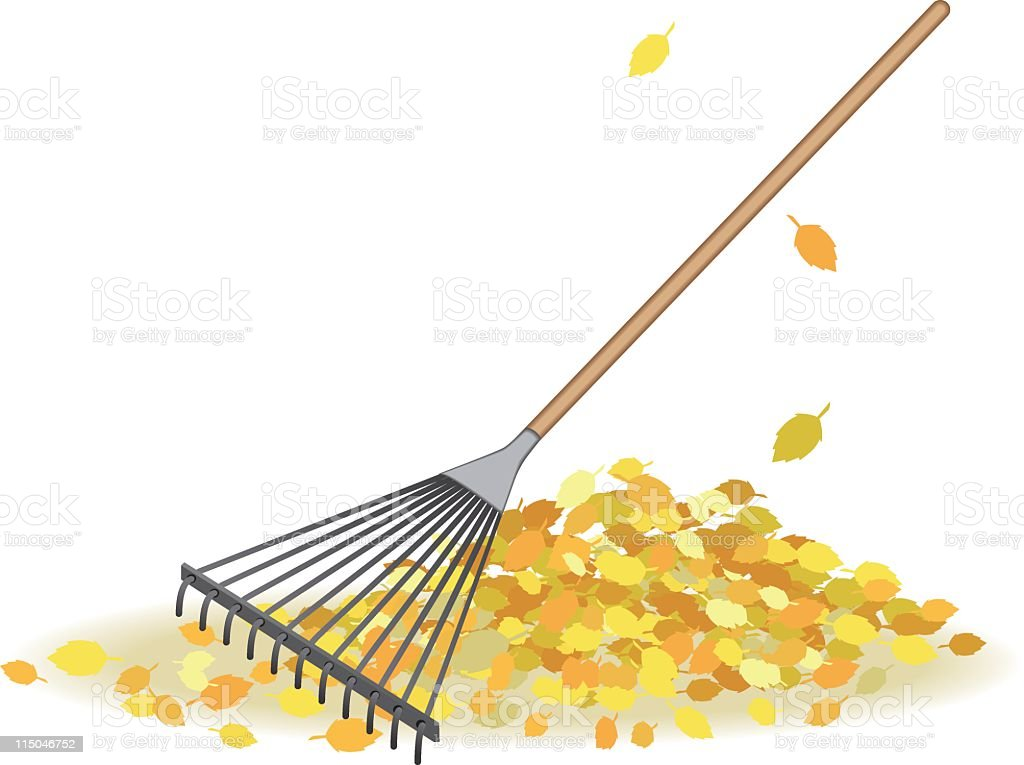 Fall Rake And Leaves vector art illustration