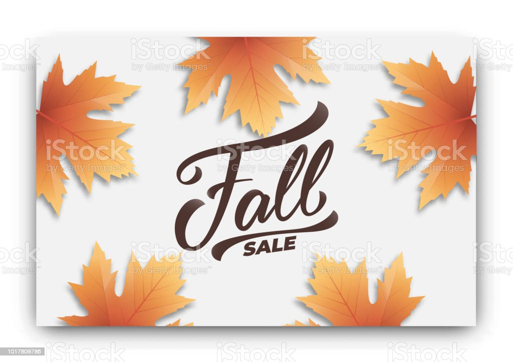 fall sale background layout design fall lettering and autumn leaves