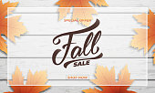 Fall sale background layout design. Fall lettering, fall leaves and wooden background. Autumn sale banner