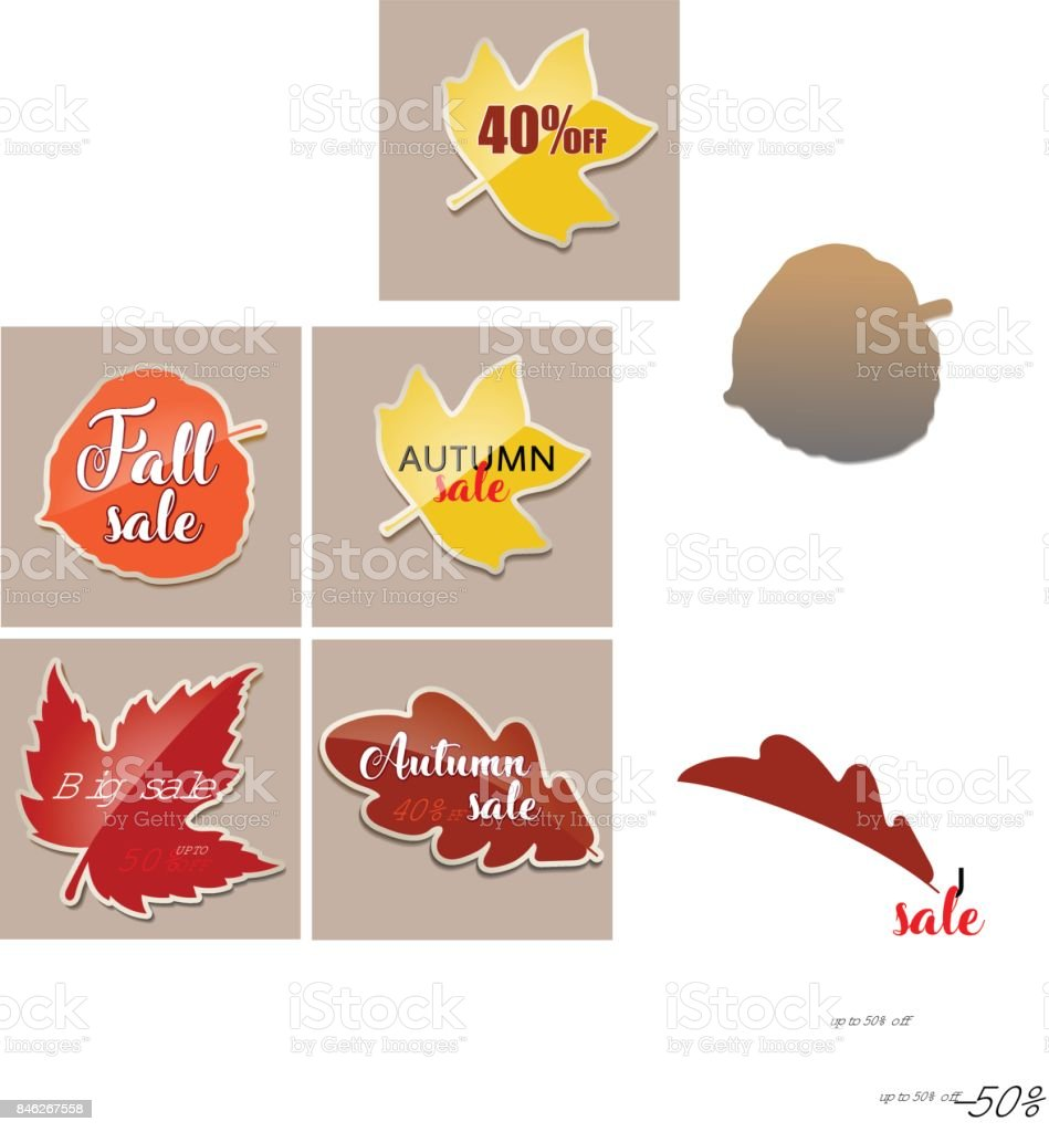 Fall sale banner with red fall aspen tree leaf vector art illustration