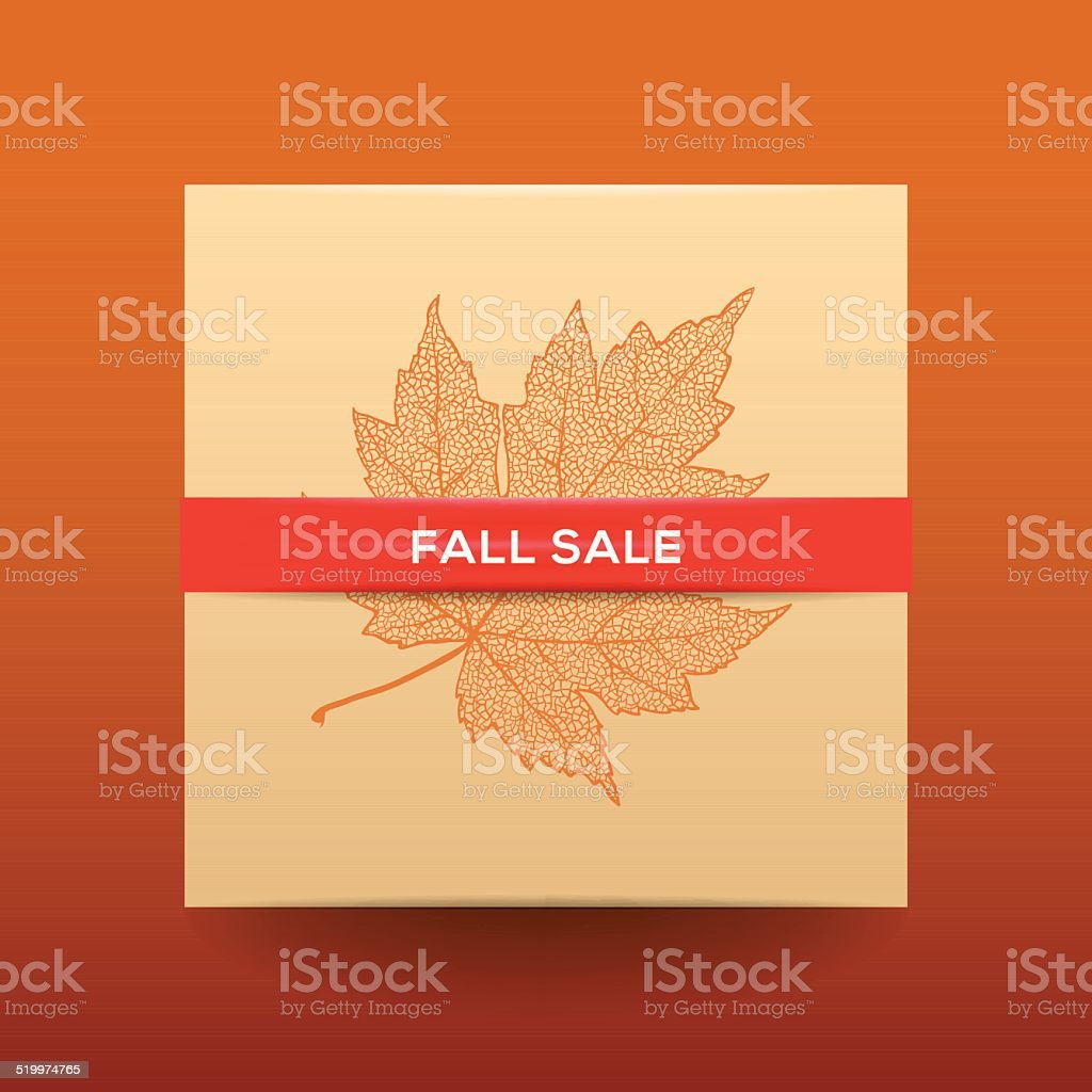 Fall sale poster with dried leaves and simple text vector art illustration