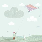 fall scene with boy, dog and a flying kite