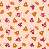 Fall seamless vector pattern - thanksgiving pie, oak leaves, grape