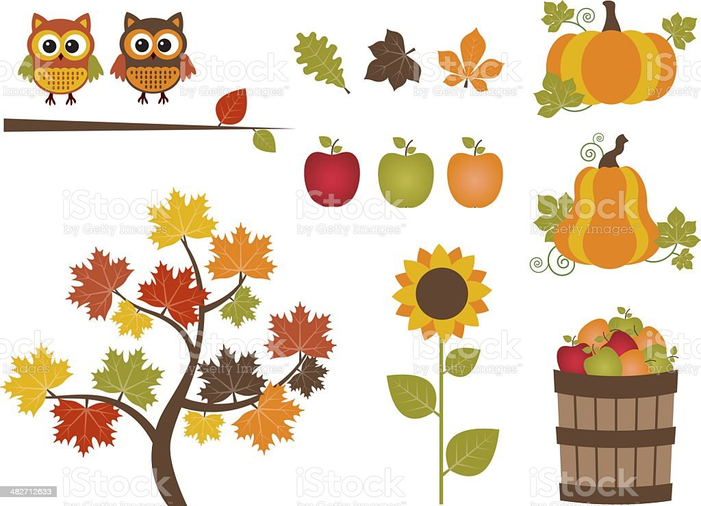 Fall set royalty-free stock vector art