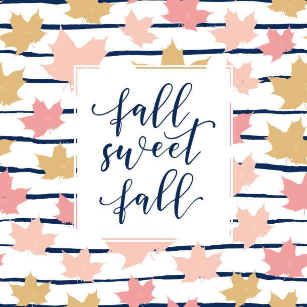 Fall sweet fall beautiful slogan, fashion poster, card, shirt. Typography illustration with peachy pink color, stroke and leaves pattern. Vector autumn background vector art illustration
