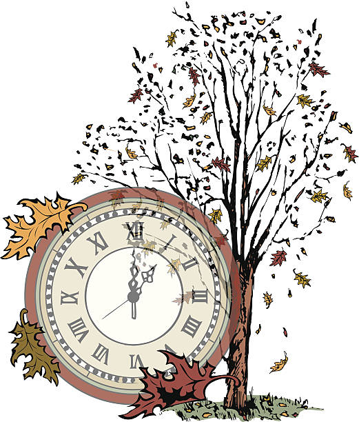 fall tree clock c - daylight savings time stock illustrations, clip art, cartoons, & icons