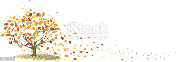 istock Fall Tree with It's Leaves Blowing in the Wind 95745141