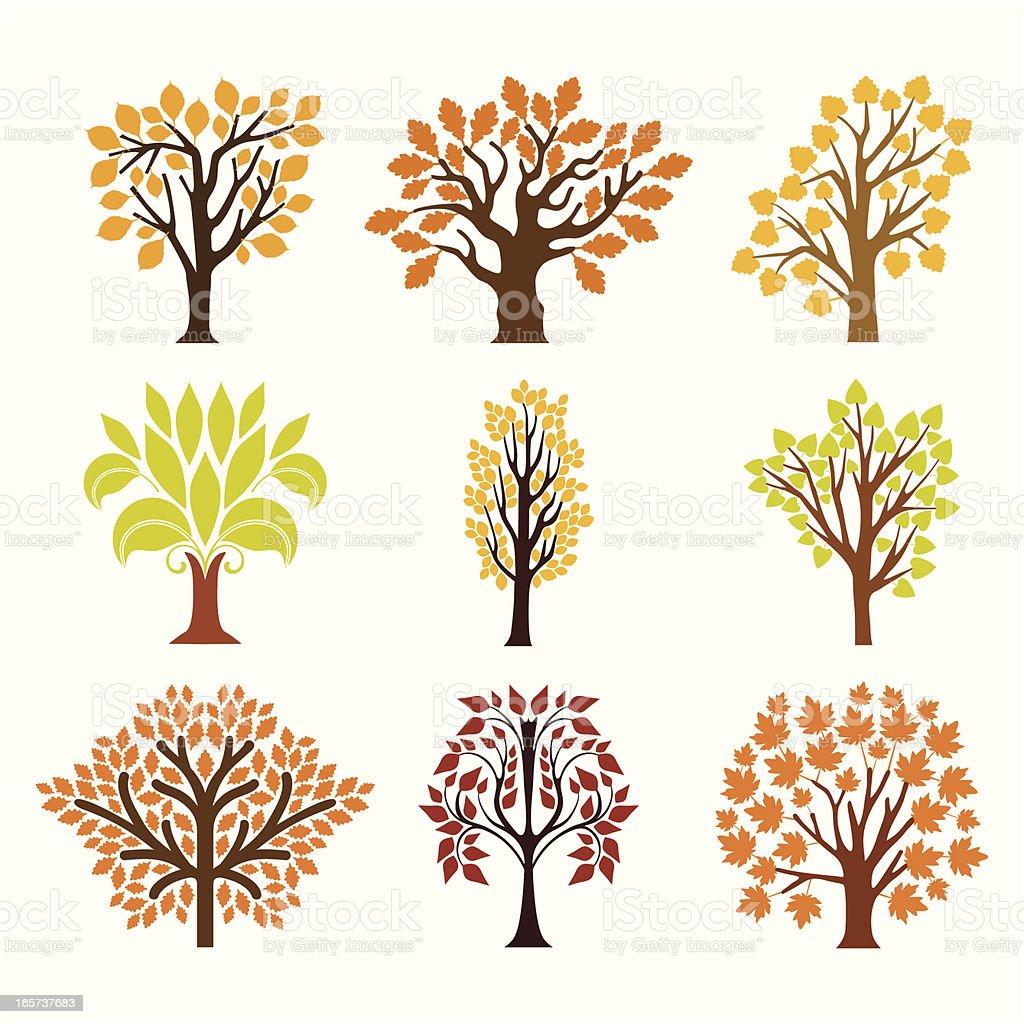Fall trees vector art illustration